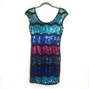 Forever 21 Wave Striped Sequin Mini Dress Small